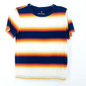 American Eagle Soft N Sexy Neon Striped Tee Shirt